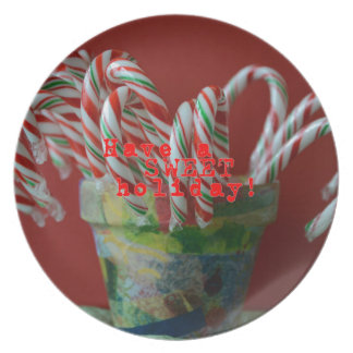 Candy Cane Holiday Greetings Plate