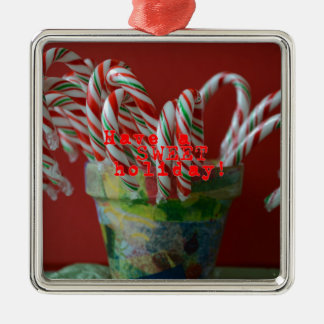Candy Cane Holiday Greetings Silver-Colored Square Decoration
