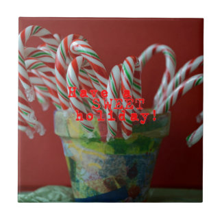 Candy Cane Holiday Greetings Small Square Tile