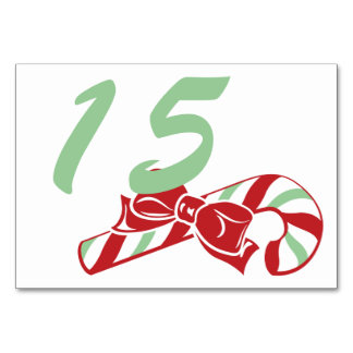 Candy Cane Holly | Custom Table Number Card 3 x 5