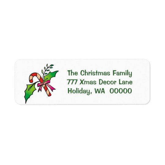 Candy Cane Holly Return Address Holiday Christmas Return Address Label