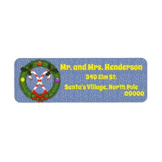 Candy Cane in Wreath Return Address Labels