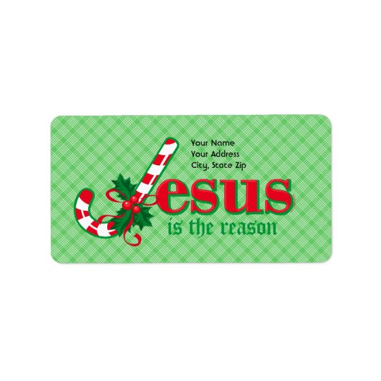 Candy Cane Jesus Address Label