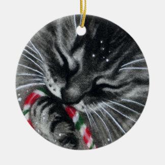 Candy Cane Kitten CAT  Ornament