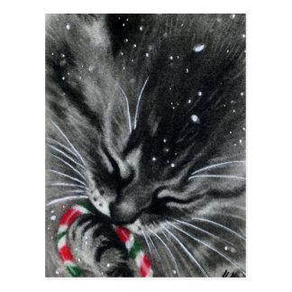 Candy Cane Kitten Cat Postcard