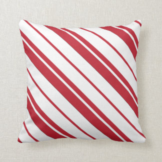 Candy Cane Mint Red and White Striped Pillow