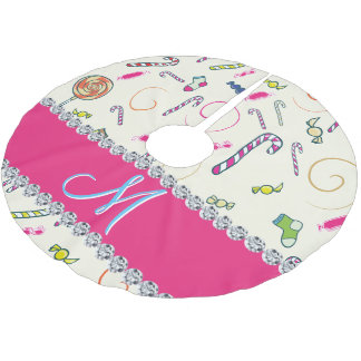 Candy Cane Monogram Hot Pink Diamond Initial Brushed Polyester Tree Skirt