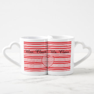 Candy Cane Mr. Claus and Mrs. Claus Naughty Nice Coffee Mug Set