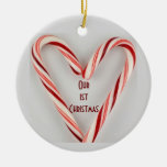 CANDY CANE ORNAMENT-OUR 1st CHRISTMAS TOGETHER Round Ceramic Decoration