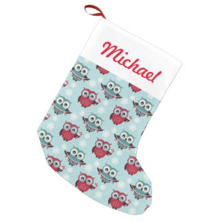 Candy Cane Owls Small Christmas Stocking