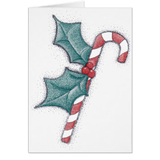 Candy Cane Pointillism Card