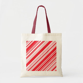 Candy Cane Red and White Diagonal Multi Stripes Bag