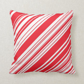 Candy Cane Red and White Diagonal Multi Stripes Pillow