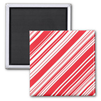 Candy Cane Red and White Diagonal Multi Stripes Refrigerator Magnet