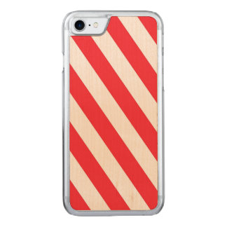 Candy Cane Red and White Diagonal Stripes Carved iPhone 7 Case