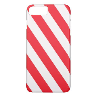 Candy Cane Red and White Diagonal Stripes iPhone 7 Plus Case
