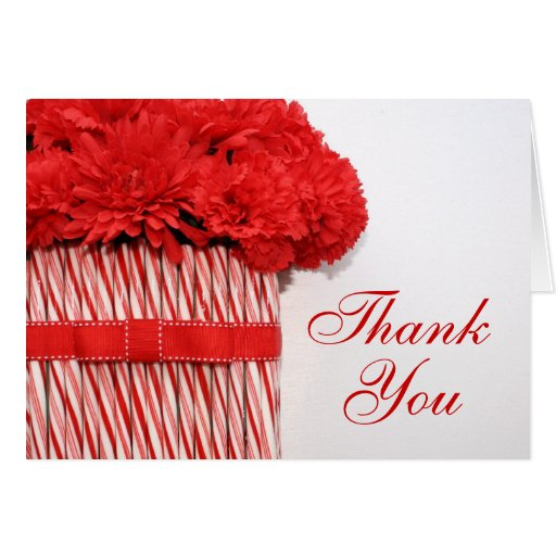 Candy Cane Red Bouquet Thank You Card