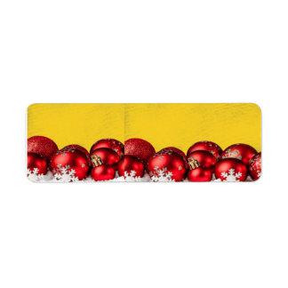 Candy Cane Red Christmas balls Return Address Label