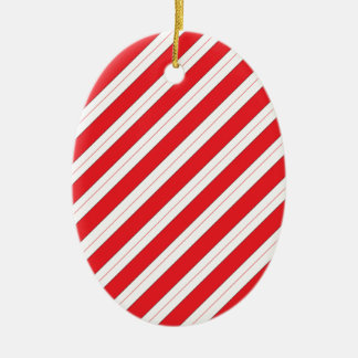 Candy Cane Red Stripes Ceramic Oval Decoration
