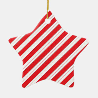 Candy Cane Red Stripes Ceramic Star Decoration