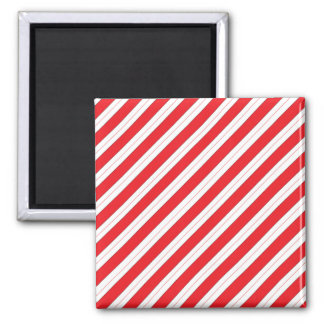 Candy Cane Red Stripes Square Magnet