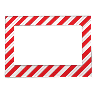 Candy Cane Red Stripes Magnetic Photo Frames