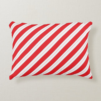 Candy Cane Red Stripes Accent Pillow
