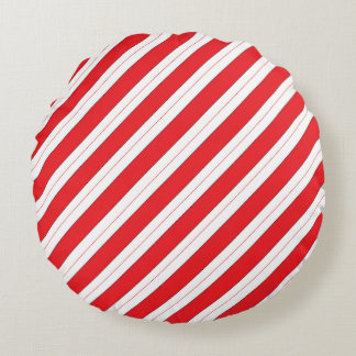 Candy Cane Red Stripes Round Pillow