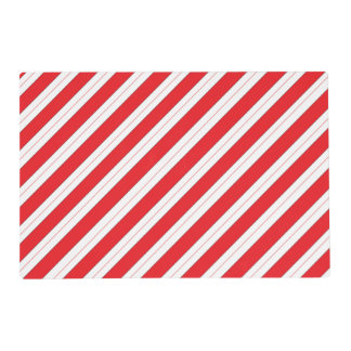 Candy Cane Red Stripes Laminated Place Mat
