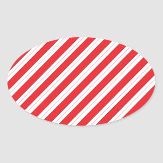 Candy Cane Red Stripes Oval Sticker