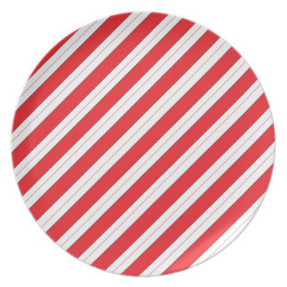 Candy Cane Red Stripes Plates