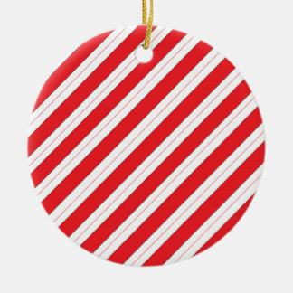 Candy Cane Red Stripes Round Ceramic Decoration