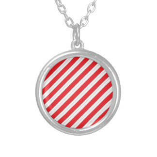 Candy Cane Red Stripes Round Pendant Necklace