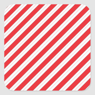 Candy Cane Red Stripes Square Sticker