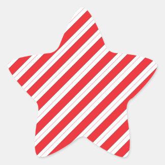 Candy Cane Red Stripes Star Sticker