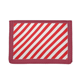 Candy Cane Red Stripes Tri-fold Wallets