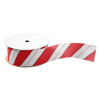 Candy Cane Red Stripes Grosgrain Ribbon