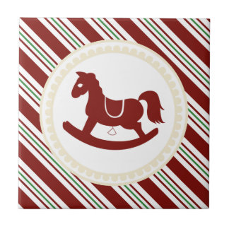 Candy Cane Rocking Horse Holiday Tile