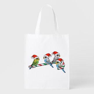 Candy Cane Santa Budgies Reusable Grocery Bag