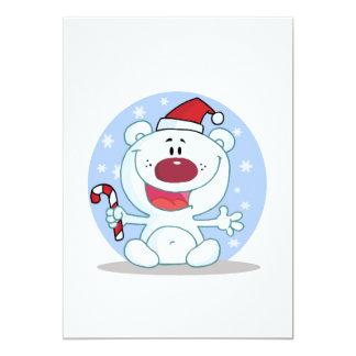 candy cane santa polar bear silly 13 cm x 18 cm invitation card