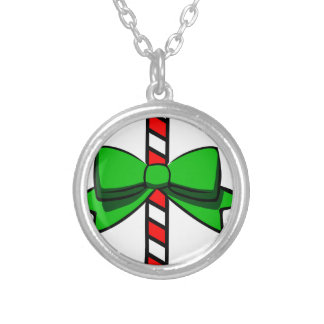 Candy Cane Silver Plated Necklace