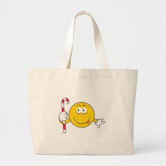 Candy Cane Smiley Face Tote Bags