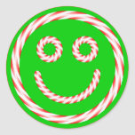 Candy Cane Smiley Face Sticker