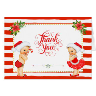 Candy Cane Stripe Christmas Thank You Card