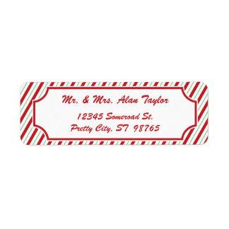 Candy Cane Stripe   Holiday Return Address Label