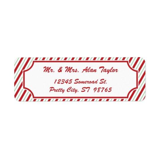 Candy Cane Stripe | Holiday Return Address Label