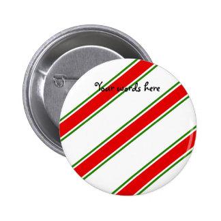Candy cane stripe pattern pinback buttons