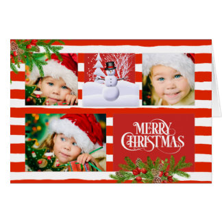 Candy Cane Stripe Photo Christmas Card