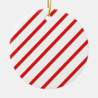 Candy Cane Stripe Round Ceramic Decoration
