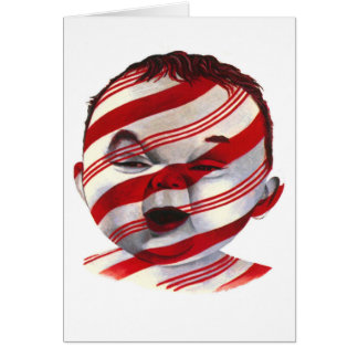 Candy Cane Striped Baby Face Greeting Card